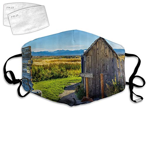 Multi Usage Face Cover UP Old Rustic Wooden Cottage Barn Shed in a Farm Village Image Balaclava Reusable Windproof Mouth Cover with 2 Filter