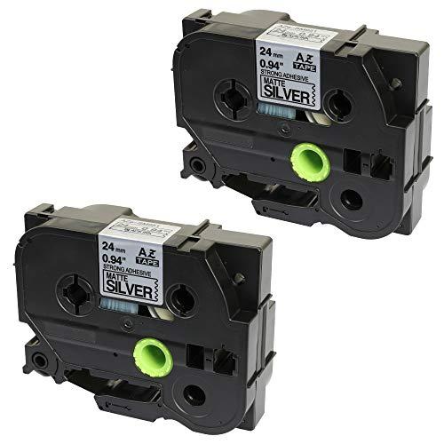 2 x Schriftband TZ-SM951/TZe-SM951 Schwarz auf Starke Matt-Silber (24mm x 8m) kompatibel zu Brother P-Touch