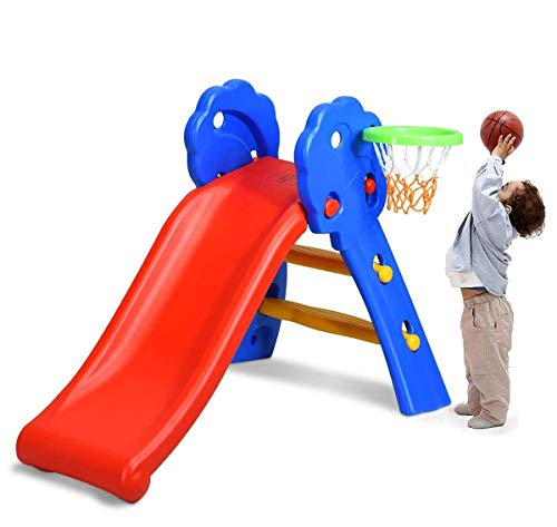 HONEY JOY Folding Slide for Kids, 3-in-1 Freestanding Slide, Climbing Stairs and Basketball Hoop, Easy Setup, Sturdy Toddler Slide Climber Set, Kids Playground Toy Playset for Indoor Outdoors Games