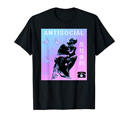 Antisocial Butterfly Tee Vaporwave Aesthetic 80s 90s Glitch T-Shirt
