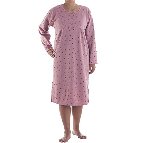 Lucky Langarm Thermo Nachthemd mit Druck, Größe:XL;Farbe:Altrosa