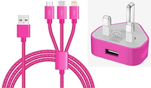 Amo® - Cable de carga USB MFI, 1 metro y enchufe británico de 3 pines compatible con iPhone iPad