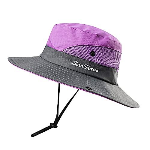 Kids Girls UV Protection Sun-Hat Wide Brim Bucket-Cap with Ponytail Hole Purple