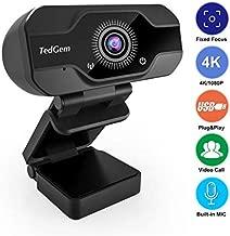 HD Pro Webcam, TedGem 8MP Fixed Focus 4K/1080P Full HD Webcam USB Webcam Desktop Laptop Camera Live Streaming Webcam Built-in Mic Widescreen HD Video Webcam, Flexible Rotatable Clip[Upgraded Version]
