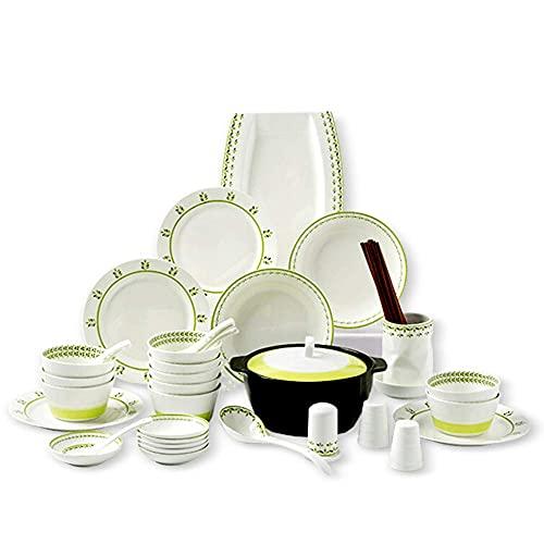 Vajilla de cerámica, juego de vajilla de porcelana para 10 personas, juego de platos de cena de 46 piezas, apto para uso diario u ocasiones formales, apto para lavavajillas y microondas, regalo de bod