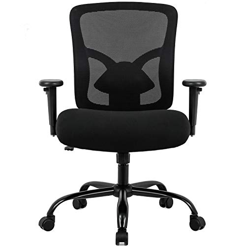 Big and Tall 400lb Office Chair, Ergonomic Executive Desk Chair Rolling Swivel Chair Adjustable Arms Mesh Back Computer Chair with Lumbar Support Task Chair for Women, Men (Black)