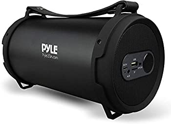 Pyle Portable Speaker Boombox Bluetooth Speakers Rechargeable Battery Surround Sound Digital Sound Amplifier USB/SD/FM Radio Wireless Hi-Fi Active Stereo Speaker System in Black  PBMSPG7