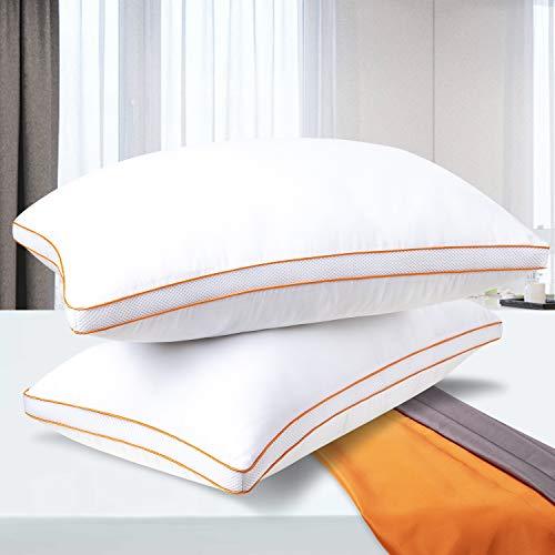 Maxzzz Almohadas Antiácaros Pack 2 Almohadas de Hotel 50x75 cm Almohadas Transpirable Firmeza Baja con Suave Fibra 3D +Fibra de Soporte 7D