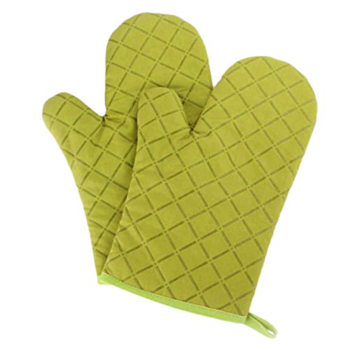 Aibrou Ofenhandschuhe Anti-Rutsch Backofen Handschuhe Topfhandschuhe Hitzebeständig Topflappen für Kochen Backen Barbecue, 1 Paar Grün