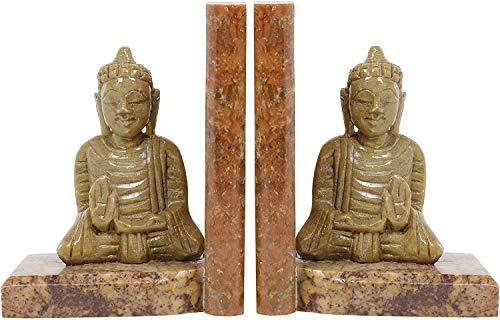 Handgefertigte Buddha-Buchstützen, handgeschnitzt, Speckstein, dekorative Buchstütze, Heimdekoration