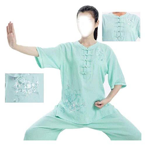 eewopjkj Traje de Tai Chi Suelto Ropa de Tai Chi para Mujer Ropa de práctica de Lino de Verano de Manga Corta Bordada Trajes de Artes Marciales Absorbe el Sudor 1019 (Color: Verde Tamaño: Medio)