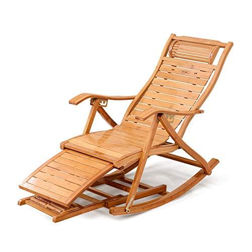 Axdwfd Deck stoel ligstoelen, bamboe stoel rugleuning klapstoel stoel schommelstoel oude zon terras tuin stoelen huis bureaustoel Siesta stoel zwanger 59x98x60cm