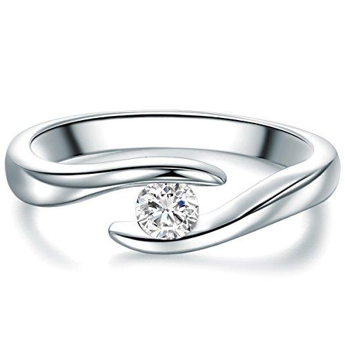 Tresor 1934 Damen-Solitärring Sterling Silber Zirkonia weiß im Brillantschliff - Spannring gedreht Verlobungsring Antragsring Trauring: Ring Gr. 56 (17.8)
