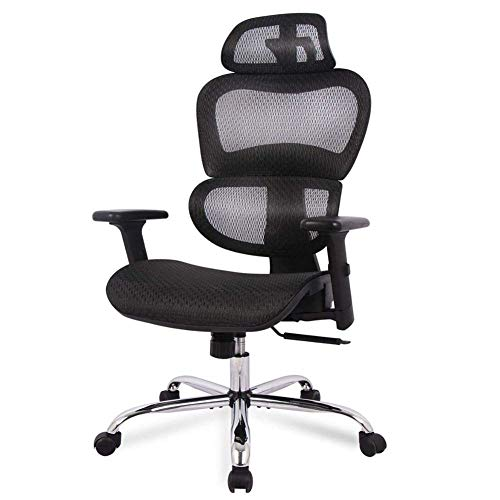 N/Z Home Equipment Ergonomic Office Chair High Back Mesh Office Chair Computer Chair Desk Chair with 3D Armrest and Adjustable Headrest Ergonomic Curved Lumbar Support (Color : Black)