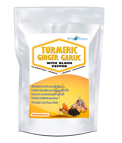 Turmeric and Ginger with Garlic 180 Capsules and Black Pepper High Strength Pills Up to 6 Months Supply Made in The UK by NutriExtracts