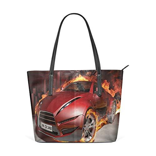 NR Multicolour Fashion Damen Handtaschen Schulterbeutel Umhängetaschen Damentaschen,Rote Sportwagen-Burnout-Reifen in Flammen-loderndem Motor-heißem Feuer-Rauch-Automobil