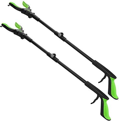 """2-Pack Foldable Grabber Reacher Tool with Light, 32"""" Trash Picker Grabbers, Deft Claw Reacher Grabber for Elderly, 90°Rotating Anti-Slip Jaw, Magnet Hook (Green)"""