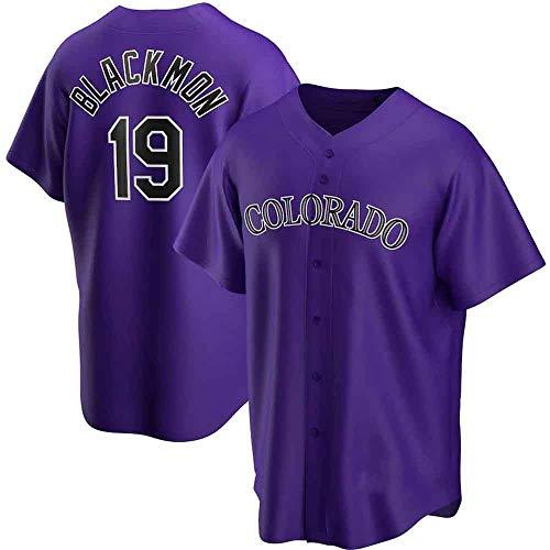 GMRZ MLB T-Shirt Herren, Baseball Trikot Mit Colorado Rockies # 19 Blackmon Logo Design Major League Baseball Team Sportbekleidung Fans Jersey Bestickte Shirt Kurzarm Unisex,Lila,XL