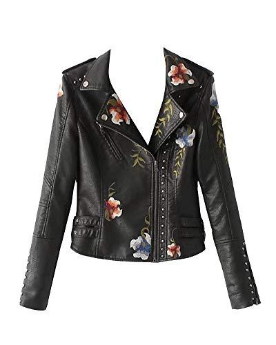 GuoCu Mujer Chaqueta De Cuero PU Corto Biker Abrigo con Bordados De Flores Negro L