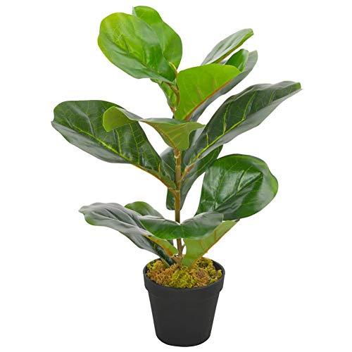 Ficus - Árbol artificial con maceta, planta artificial de Ficus Lyrata con maceta, Fico Ficus planta árbol artificial de plástico, planta artificial flor para casa, oficina, verde, 45 cm