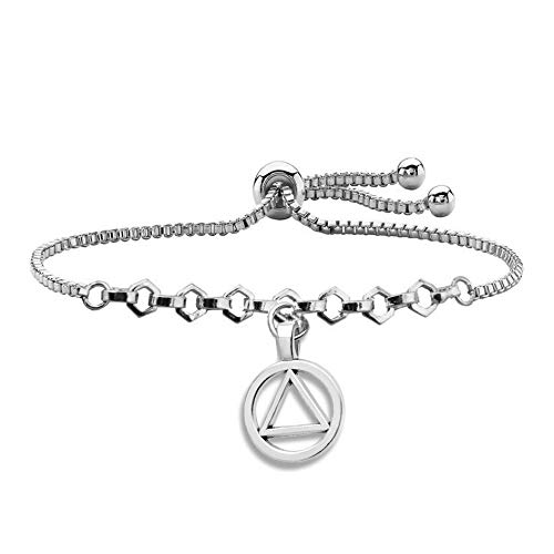 FEELMEM AA Recovery Serenity Prayer Keychain Sobriety Gift Serenity Peace Within The Storm Keyring with Alcoholics Anonymous AA Symbol Charm New Beginnings Jewelry for Men Women (AA Charm Slider)