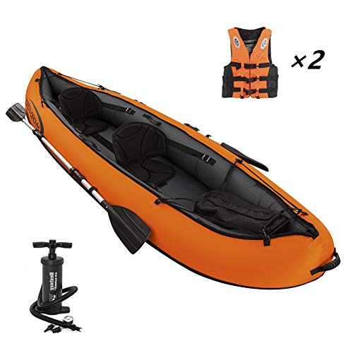 Inflatable Kayak,Set with Aluminum Oars and High Output Air Pump,2-Person