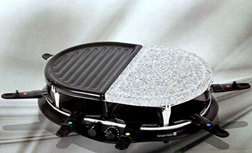Tarrington House Raclette mit Heißen Stein 8 Personen 1200 Watt Stufenlos einstellbar