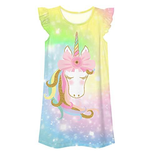 Alvivi Mädchen Schlafkleid Nachthemd Einhon Pferd Kleid Regenbogen Prinzessin Schlafanzug Kinder Pyjama Nachtwäsche Nachtkleid Einhon Hell Gelb 140-152