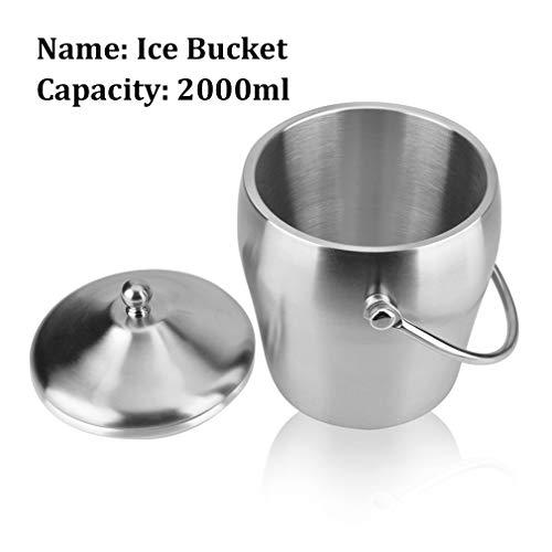 Nologo Champagne Bucket Doppelwand Eiskübel Hält EIS gefroren Längerer - 2 Liter Edelstahl Eiskübel for Parteien - mit Deckel und Eiszange