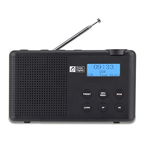 Ocean Digital DK23 Tragbares DAB & DAB + Digital- und UKW-Radio mit Akku, Lautsprecher, Sleep-Timer, Kopfhöreranschluss und Antenne