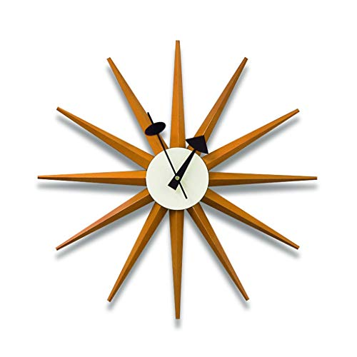 YYL Nelson clock Nelson Clock, Brown Silent Wooden Decorative Modern Silent Wall Clock Battery Operated Wall Clock Pop Color Quartz Clocks, for Home,18.8inch