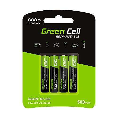 Green Cell 500mAh 1.2V 4 Stck Vorgeladene NI-MH AAA-Akkus - Akkubatterien AAA/Micro, sofort einsatzbereit, Starke Leistung, geringe Selbstentladung, wiederaufladbare Akku Batterie, ohne Memory-Effekt