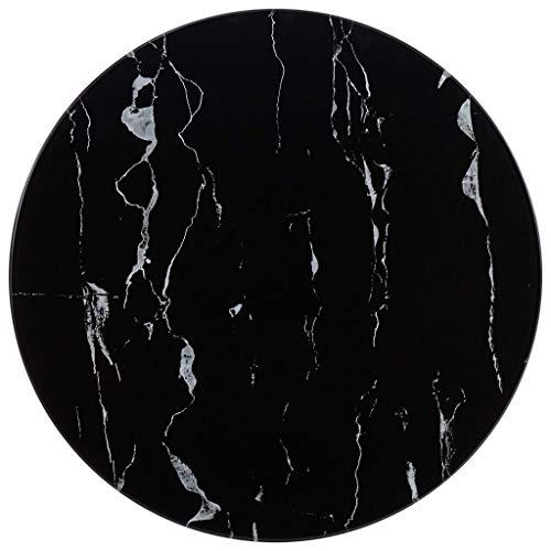 mewmewcat Tablero para Mesa Vidrio con Textura de marmol Negro Ø50 cm