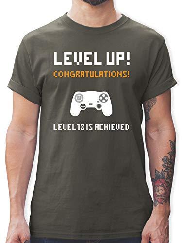 Geburtstagsgeschenk Geburtstag - 18. Geburtstag - Gamer Level 18 - M - Dunkelgrau - lustige Geschenke 18 - L190 - Tshirt Herren und Männer T-Shirts