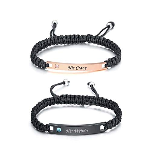 MJartoria Couples Bracelets, Personalized Matching Bracelets for Couples His and Hers, Handmade Rope Braided Rhinestone, Stainless Steel Bracelets for Wife Husband