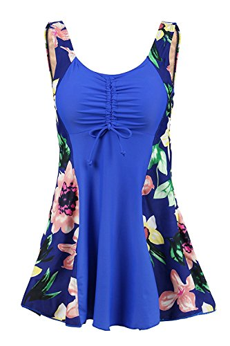 Ecupper - Bañador de una pieza para mujer, acolchado, para el vientre, con pantalones cortos, diseño de flores, tamaño extra grande Blau-lilie 0