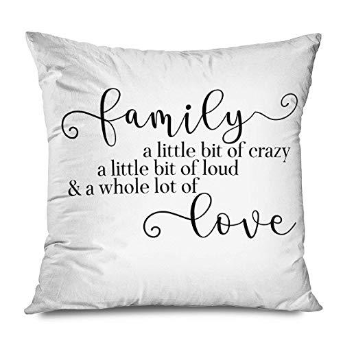 Funda de almohada con citas de casa de campo familiar poco loco y ruidoso, todo amor, inspirador, frase rústica y funda de almohada decorativa para sofá, dormitorio, sala de estar, 45,7 x 45,7 cm