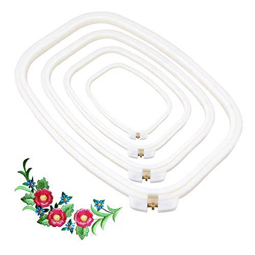 Aro de Punto de Cruz Cuadrado Aros de Bordado Plastico Conjunto de Bastidor de Bordado Anillo de bordado de plástico ABS Bordado Aro Rectángulo(4 piezas)