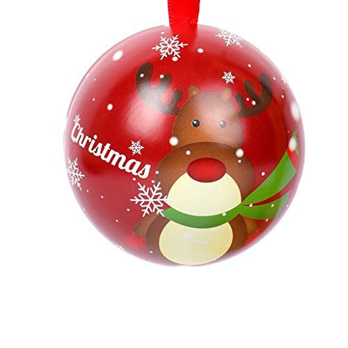 Articoli da Regalo Decorazione di Natale Candy Box Sfera Latta Bambino vigilia di Natale Old Man Gift Box Decorazioni di Natale(10) (Color : C, Size : D:7cm)