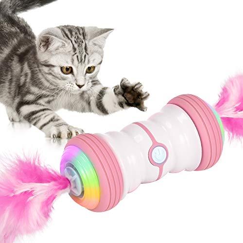 Iokheira Juguete eléctrico interactivo para gatos, automático, giratorio, inteligente, recargable por USB y luces LED de colores (rosa)