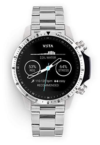 Viita Watch Active HRV snelheidsmeter met stalen armband, zilver/zilver