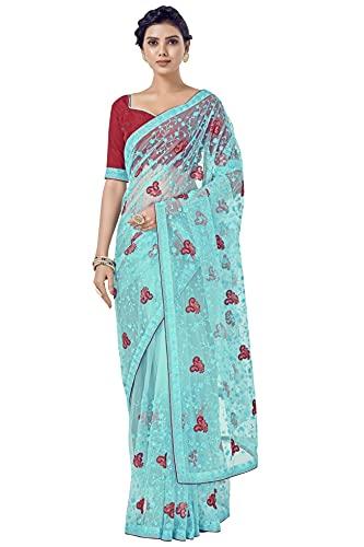 GLORY SAREES Women's Net Saree with Embroidery Work (Luxury130_Firozi)