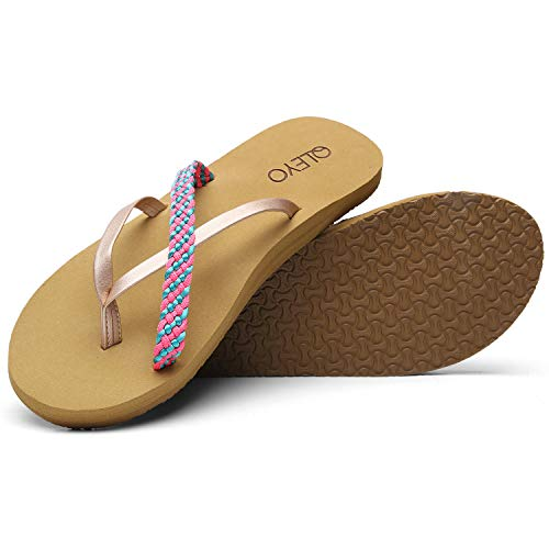 QLEYO Arch Support Flip Flops for Women, Memory Foam Sandal, Handcrafted Braided Strap Thong Shoes for Travelling/Beach/Pool/Party QLTX02-1-W14-8