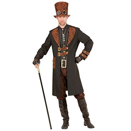 Amakando Viktorianisches Steampunk-Outfit für Herren / Braun-Schwarz L (52) / Elegante Gothic-Jacke mit Hemd & Zylinder Biedermeier / EIN Highlight zu Karneval & Themenabend