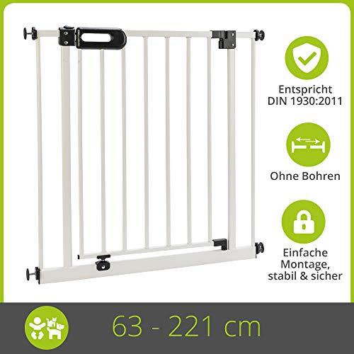 BOMI Treppen Gitter 63-221 | Ohne Bohren | 90° Stop | Schließt automatisch | Absperrgitter weiß für Treppen, Türrahmen | Hochwertiges Treppenschutzgitter mit Tür