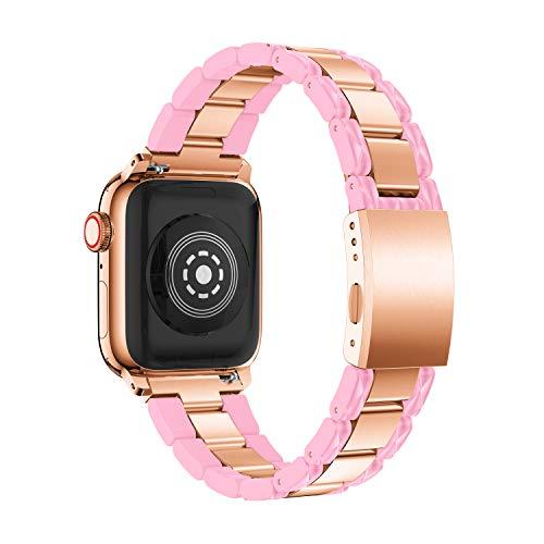 ANBEST Correa Compatible con Apple Watch Correa 38mm 40mm Mujer Ligero Resina de Acero Inoxidable Pulsera de Moda Correa de Repuesto para la Serie 5 4 3 2 1 Sport Edition Nike +