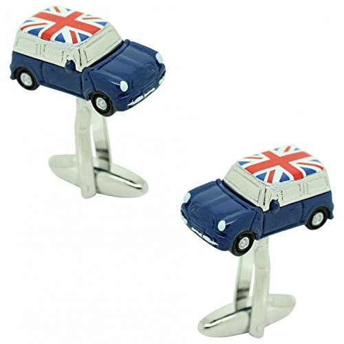 masgemelos Manschettenknöpfe Mini Cooper Blau UK Flagge Cufflinks