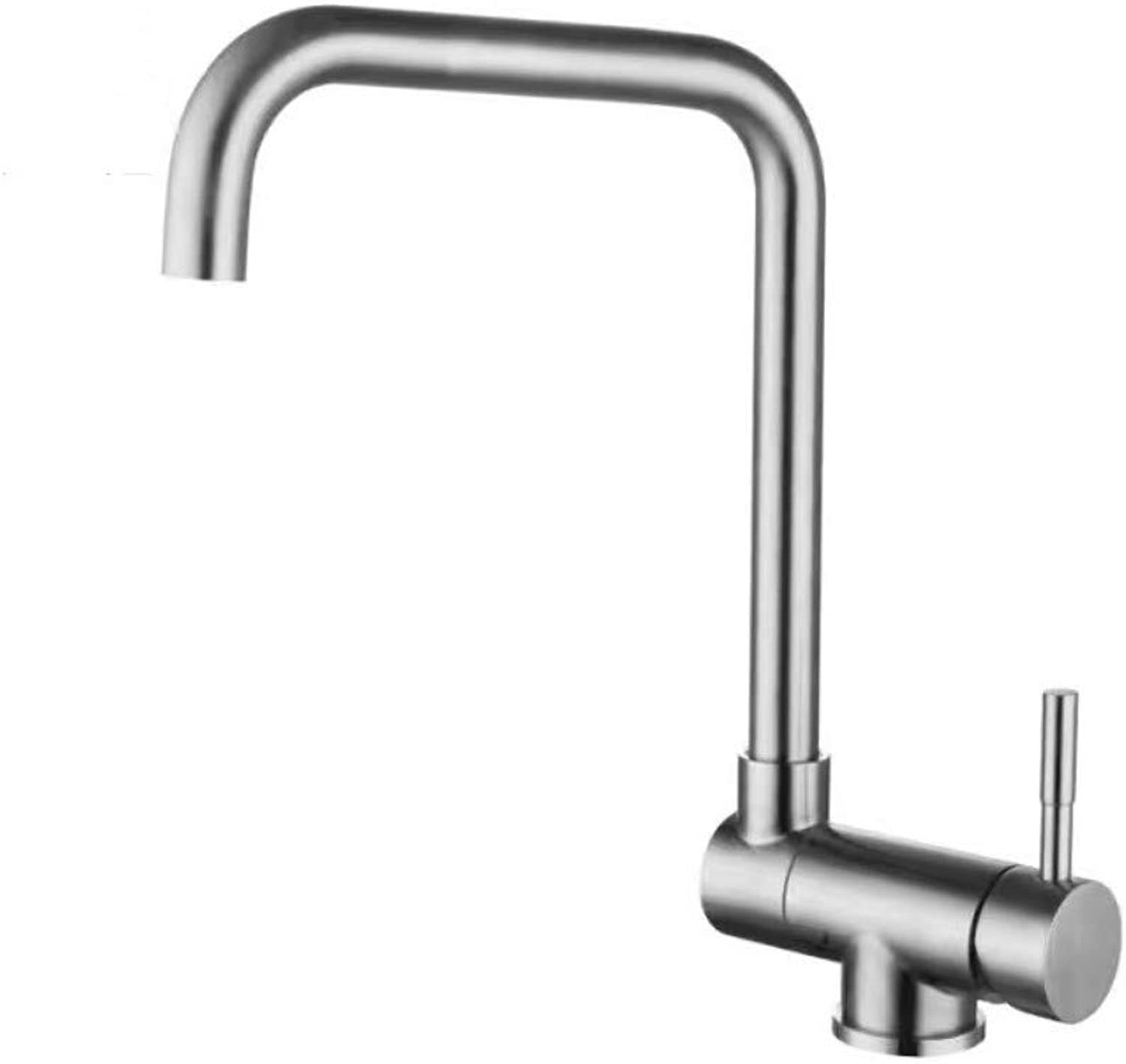 Stainless Steel Brushed Basin Inside Window Hot and Cold Faucet Lead-Free Double Turn Faucet