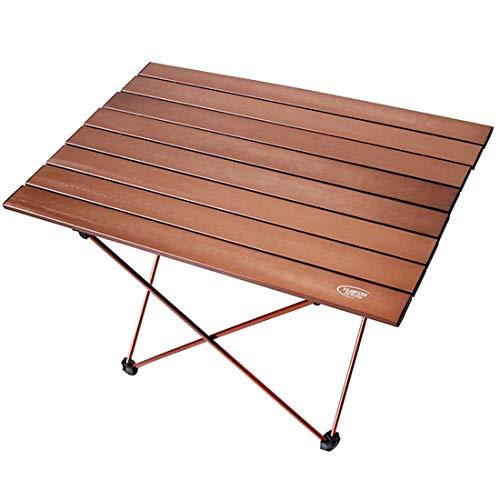 WXK Outdoor-Reisen Angeln Strandkorb, Outdoor-Camping-bewegliche Heller Klapptisch, Luftfahrt-Aluminium-Picknick-Grill Tisch, (L/Größe: 68.5x46.5x40.5cm) (Color : Coffee)
