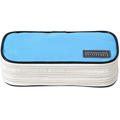 Pencil Case Pencil Holder Pencil Pouch Large Pencil Bag with Zipper Storage Organizer Makeup Bag 3 Comparments Blue Student Stationery for Home School Office